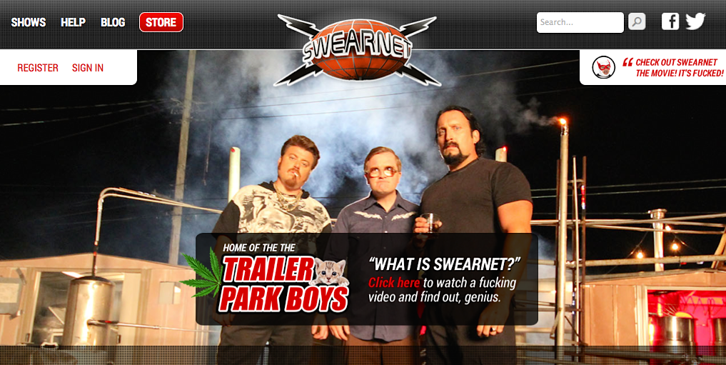 Swearnet.com, home of the Trailer Park Boys is live