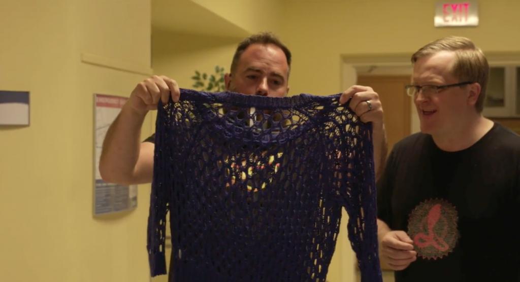 Preston thinks about wearing a shirt