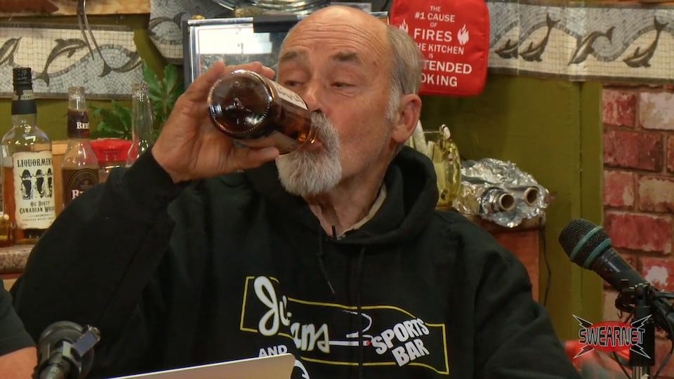 Jim Lahey drinks a bottle of Liquormen's Whisky