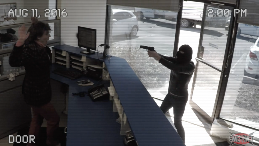 A robbery at a car rental store