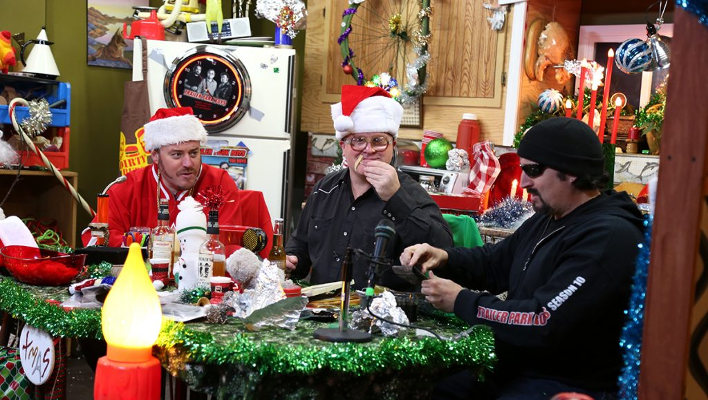 Ricky, Julian, and Bubbles celebrate Christmas on their podcast