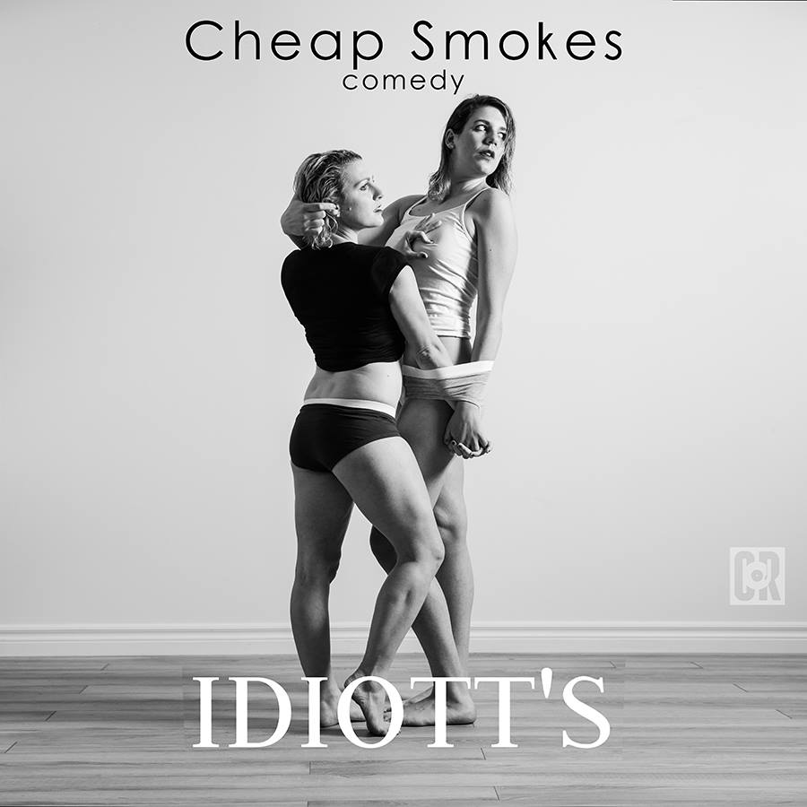 Album cover for Cheap Smokes featuring Kaitlin and Laura entangled in their underwear