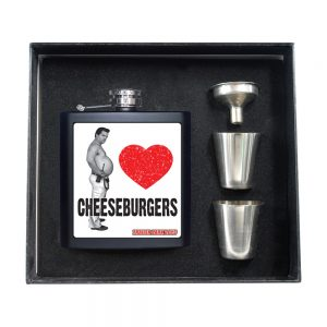 A Randy loves cheeseburgers flask set including shot glasses and a funnel