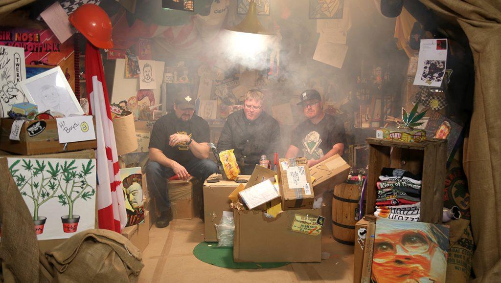 The Boys are sitting in their smokey sack