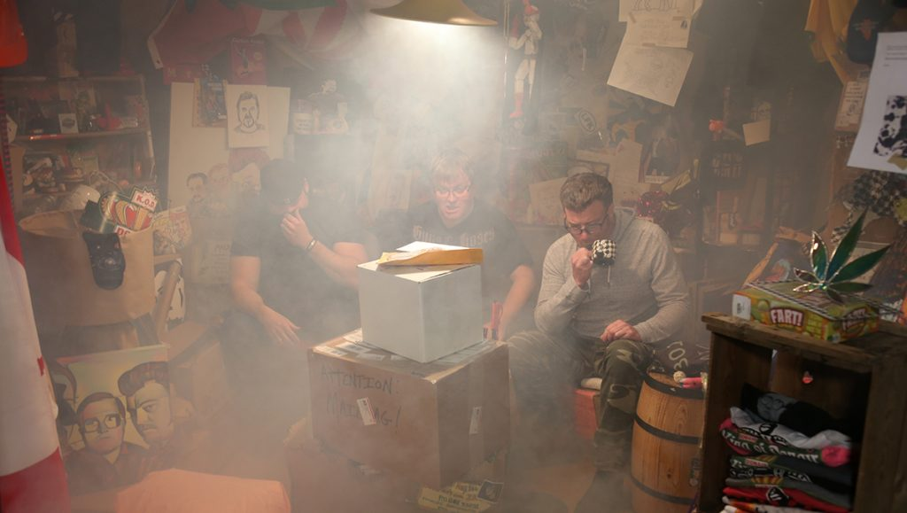 The Boys are sitting in a smokey mailbag