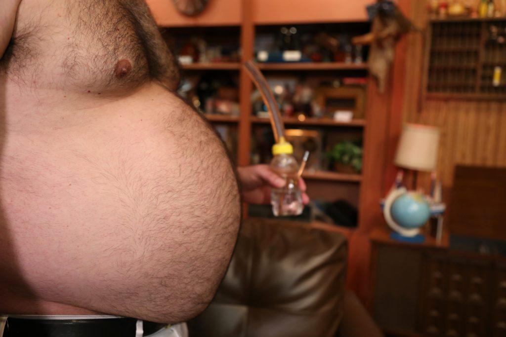 A close-up of Randy's gut
