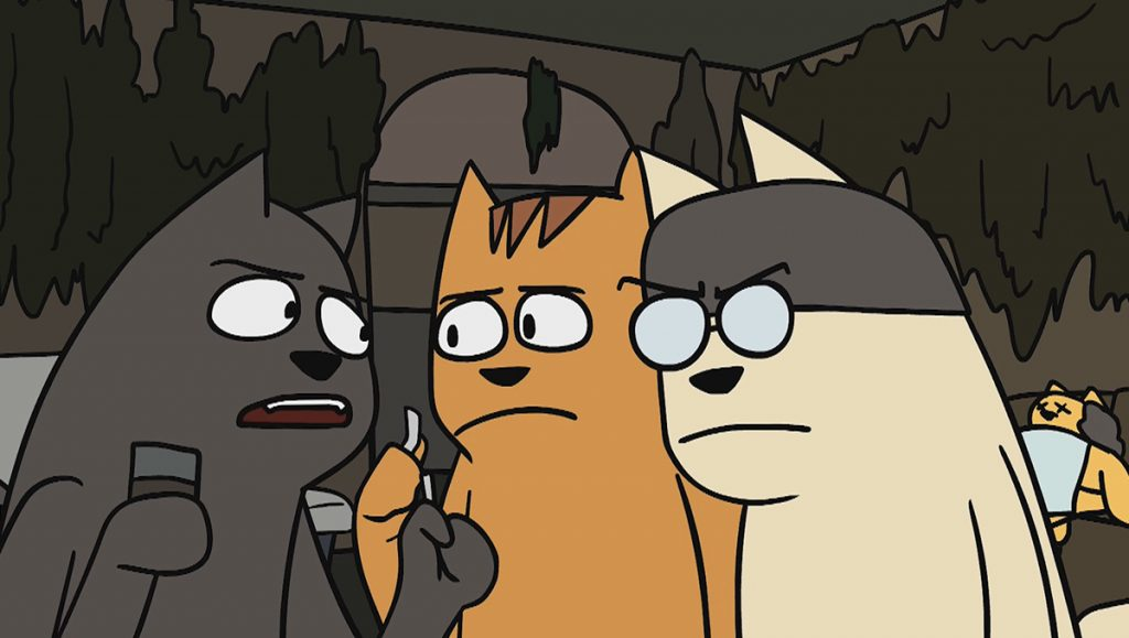 Three trailer park cats are drawing cigarettes