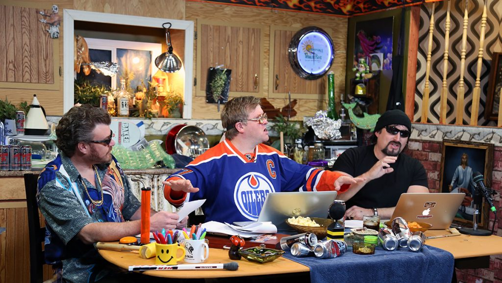 Bubbles wears an Oilers jersey for podcast 99
