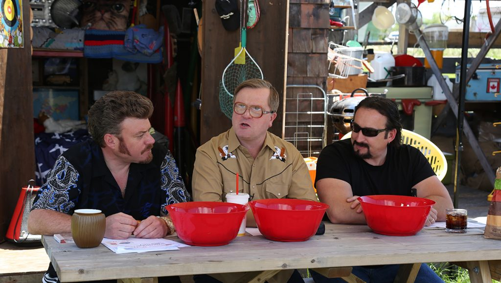 The Boys do a podcast from the front step of Bubbles' shed!