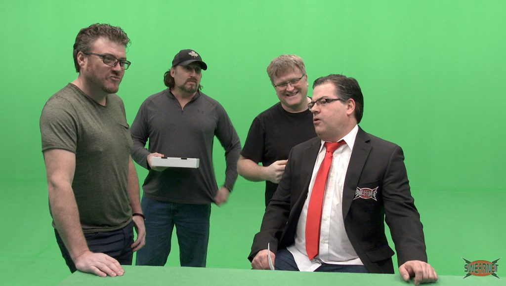 The Boys test out the green screen with Pat Roach