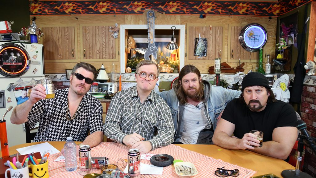 Matt Mays sits with Ricky, Julian, and Bubbles