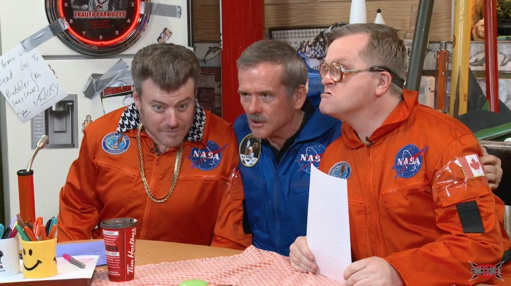 Ricky and Bubbles play space with Cmdr Chris Hadfield