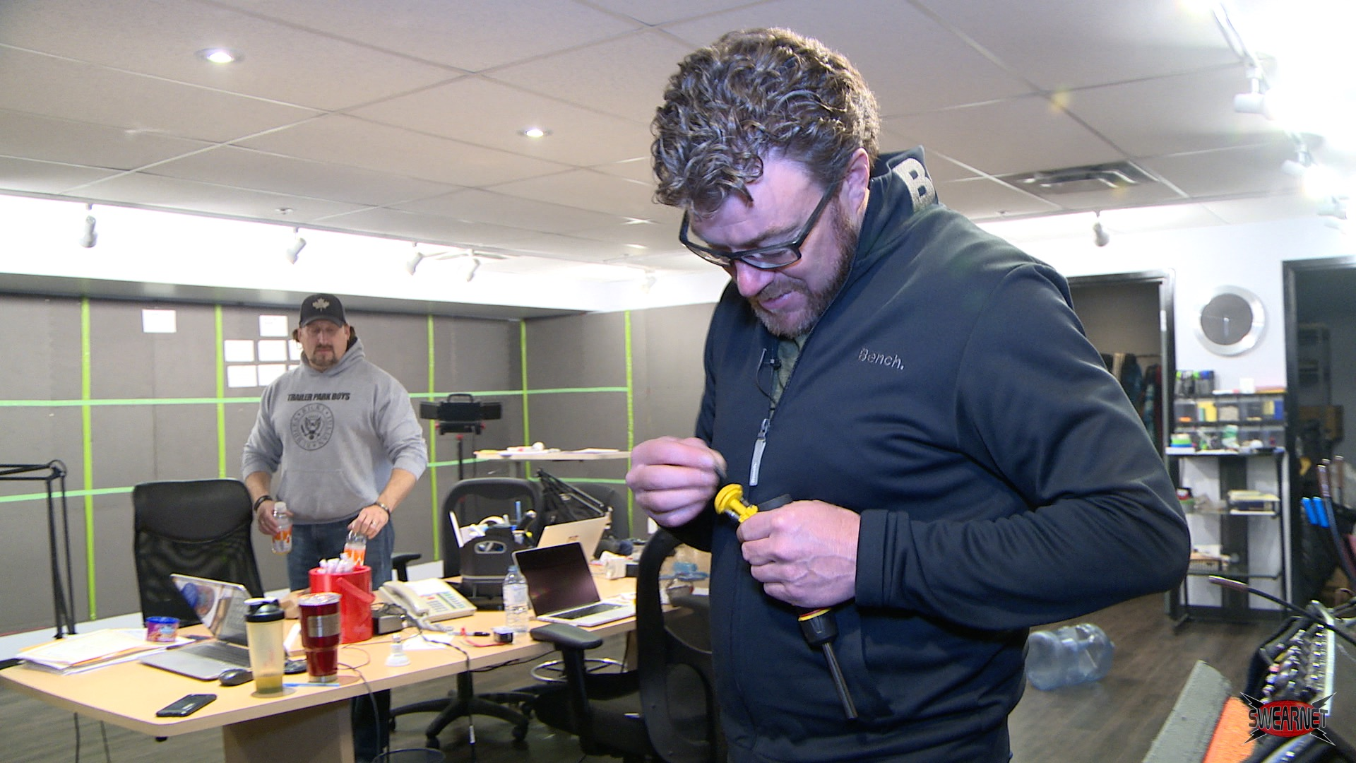 Robb and JP do some electrical repairs at the SwearNet studio!
